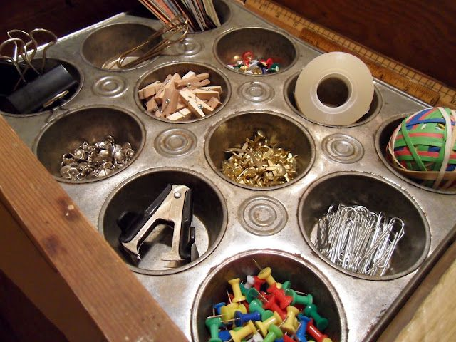Using vintage muffin tins to organize office supplies! Genius!