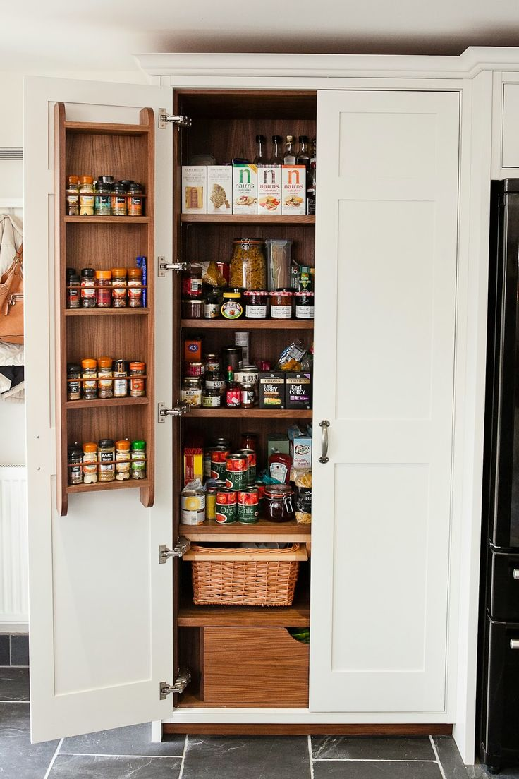 maple and gray kitchens | The kitchen also boasts a double larder with wooden spice racks ...