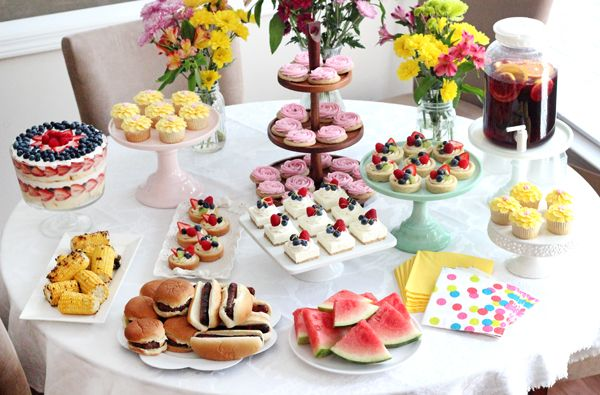 End of Summer Party featuring fruit and flower themed desserts!