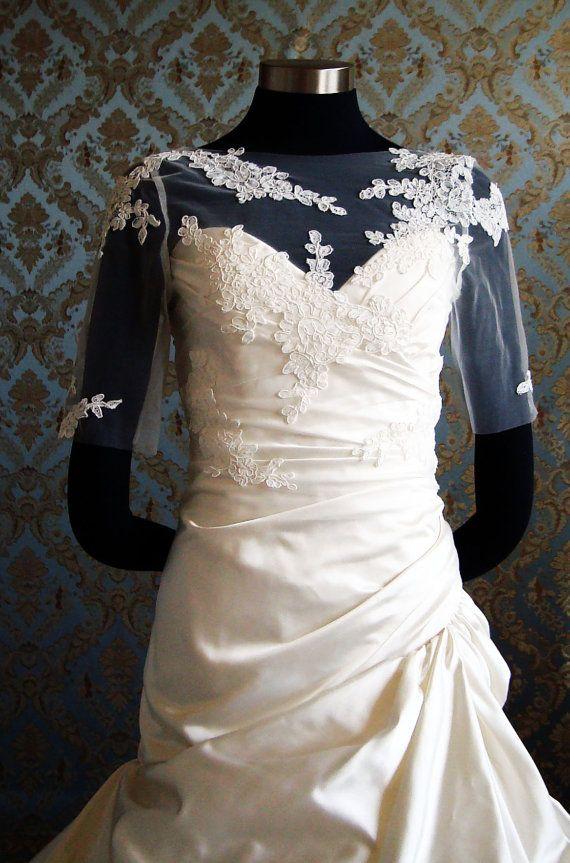 Illusion Tulle Bolero Sheer Silk Tulle & Lace Bolero Bridal Jacket by IHeartBride Style Abella