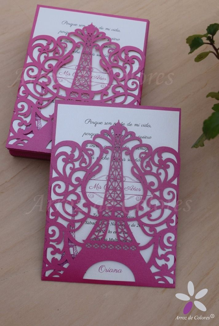 Modelo 42 Invitacion Torre Eiffel Calada Laser 15 Tarjeta