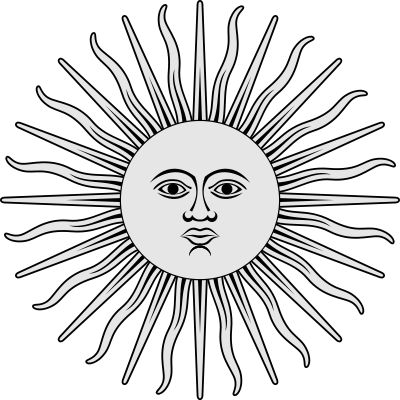 Inca Sun (Sun of May). It is one of the national emblems of Argentina and Uruguay, and it is featured on the countries' flags.