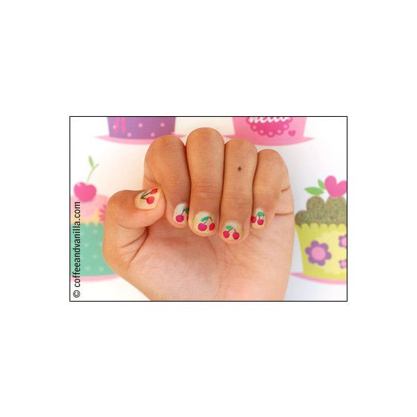 Summer Kid's Nail Art - Cherry Fingers & Watermelon Toes - Coffee and... ❤ liked on Polyvore featuring nail art