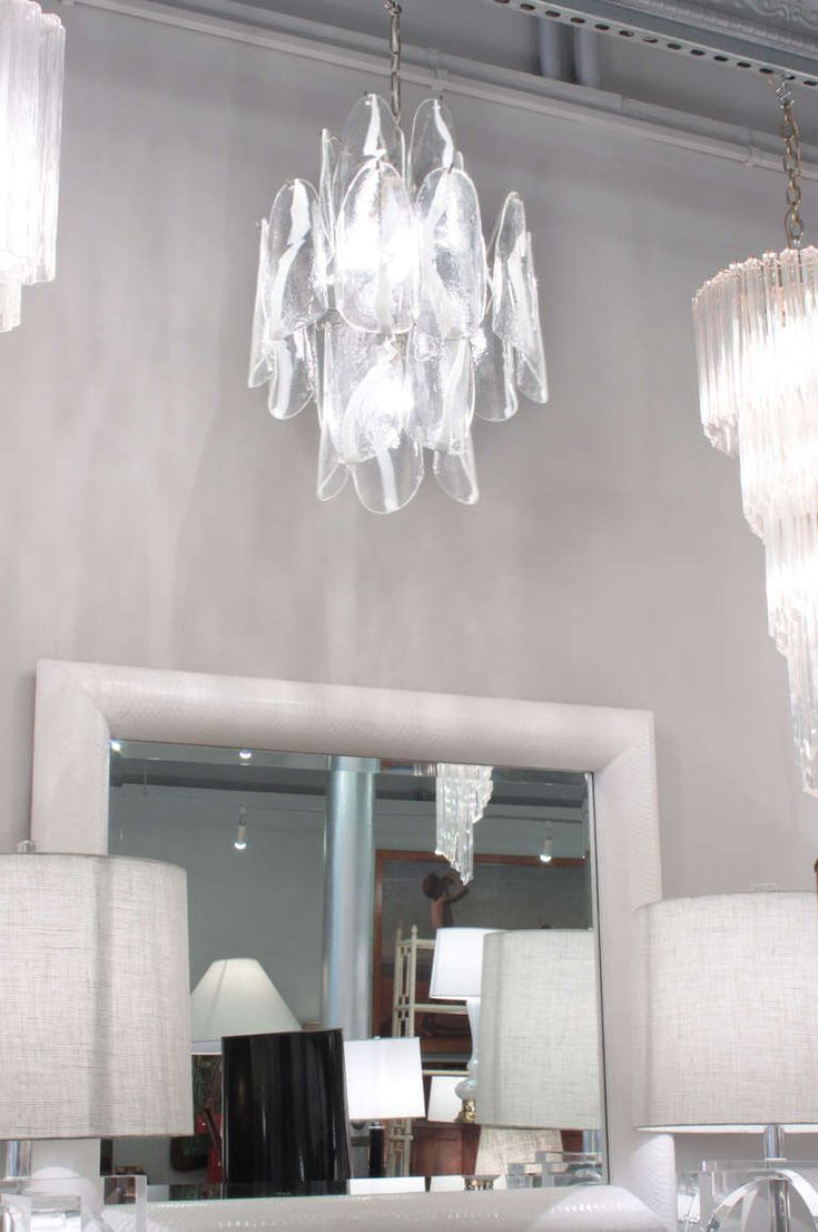 Pottery barn celeste chandelier - Large Chandelier With Molded Glass Panels By Mazzega From A Unique Collection Of Antique And
