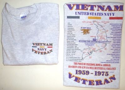 VIETNAM U.S. NAVY EMBLEM & MILITARY UNIT 2 SIDED SHIRT