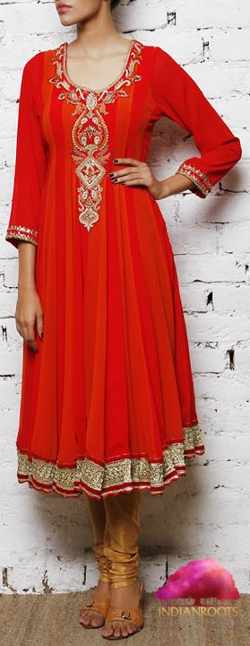 Red Georgette Anarkali Suit by V3 at Indianroots.com