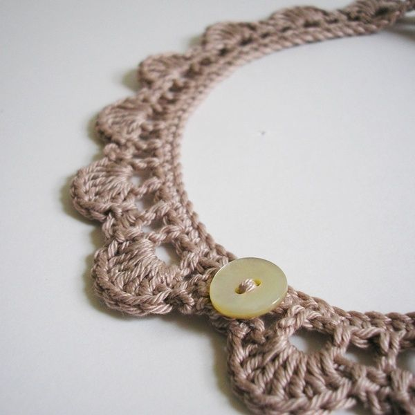 Crochet Necklace. I think there would be a way to style this in theright color with the right button where it would be really cool.