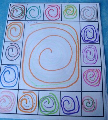 Après les lignes brisées, nous avons travaillé sur les spirales... En modelage ( pâte à modeler, plastiroc ou aluminium) suivre la spirale avec des gommettes et en découpage Gabarit de la spirale en motricité avec des rubans ou cordes Désolée , j'ai oublié...