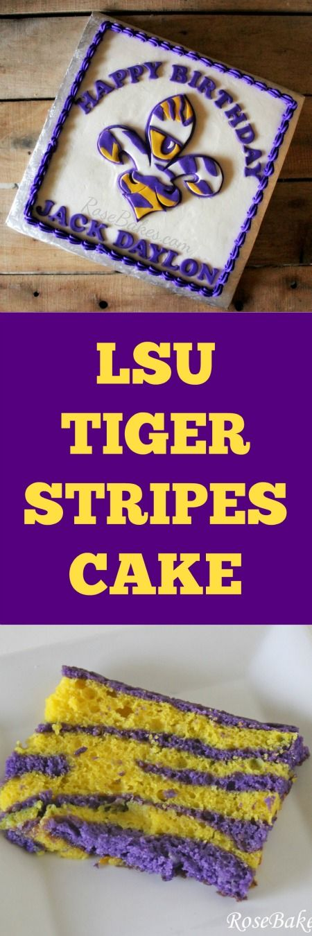 LSU Fleur de Lis Tiger Stripes Cake | RoseBakes.com.  It's also Tiger Stripes on the inside - click over to see!