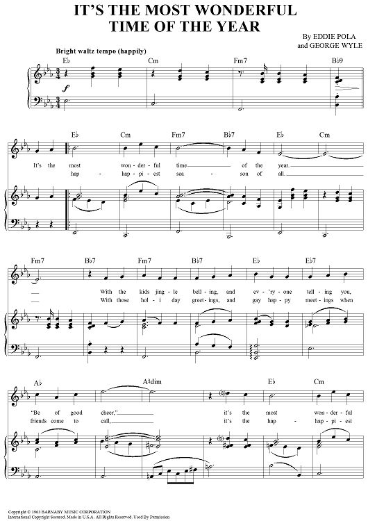 It's the Most Wonderful Time of the Year Sheet Music