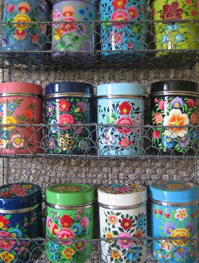 Floral tin cans - LOVE THESE but don't have $234 to buy them even if they were in stock boo hoo http://www.notonthehighstreet.com/theforestandco/product/kashmiri-spice-rack-with-12-tins