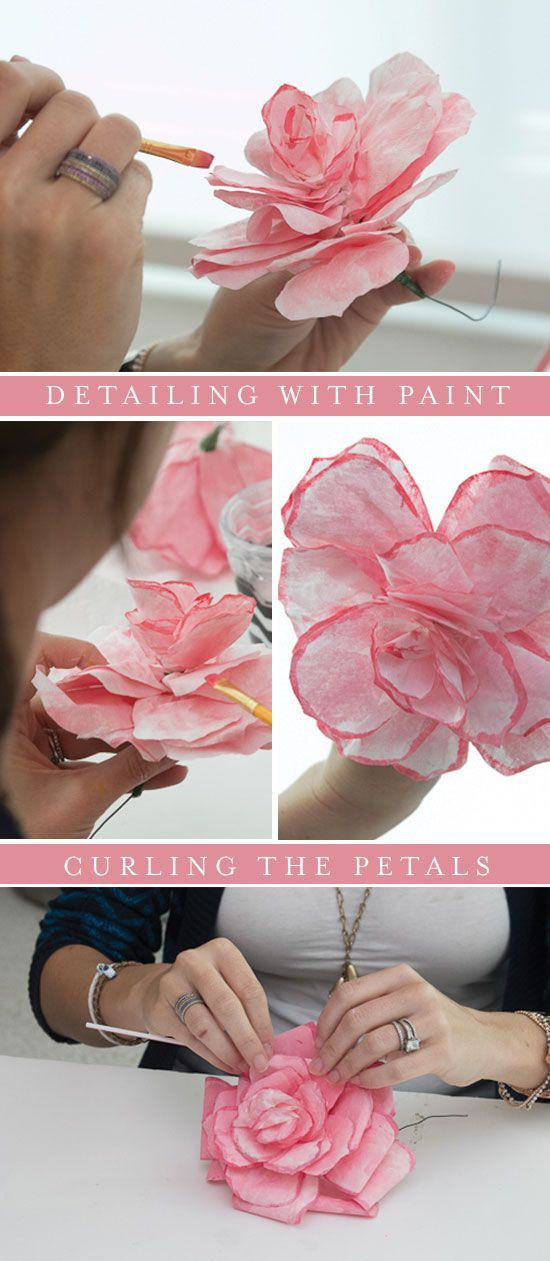 DIY- coffee filter roses- use as gift wrap on wrapped packages or gift bags, as table decorations or on banners, glue on frames, etc.