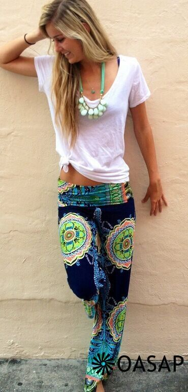 Vintage Print Loose Fit Yoga Pants - OASAP.com I want these