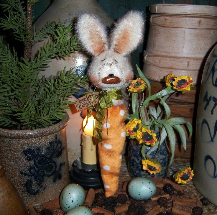"Primitive Spring Rabbit Bunny Carrot 9"" Doll Vtg Patti's Ratties Easter Bear"