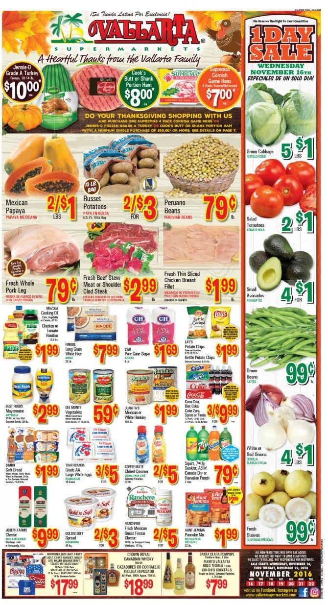 Vallarta Weekly Ad Flyer November 16 - 22, 2016 - http://www.olcatalog.com/grocery/vallarta-weekly-ad-fleyer.html