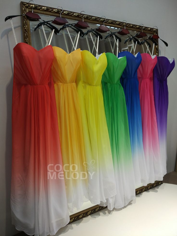 "Amaizng rainbow bridesmaid dresses .Will you say ""yes "" to them for your girls . #wedding #rainbowdresses #bridesmaiddresses #cocomelody"