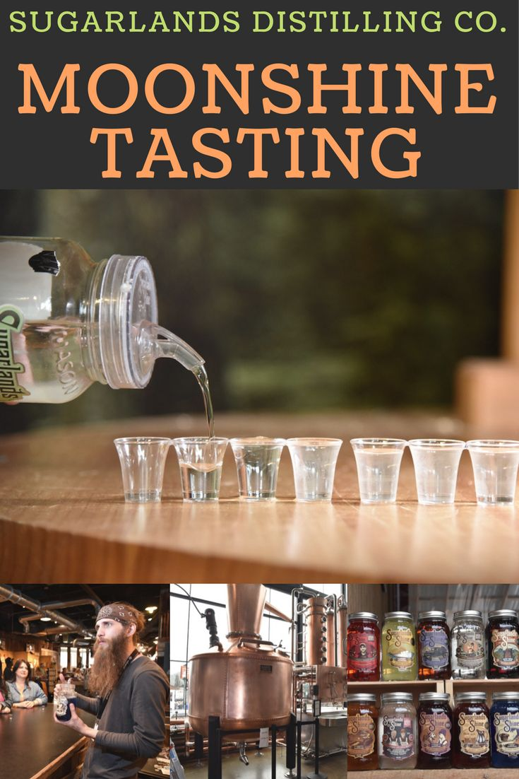 Moonshine Tasting at Sugarlands Distilling Co. in the Smoky Mountains of Gatlinburg, Tennessee. Head out and taste moonshine ranging from 40 proof to 100 proof! From blueberry muffin, root beer, lemonade and apple pie - you are sure to find your favorite amongst these delicious moonshine flavors.