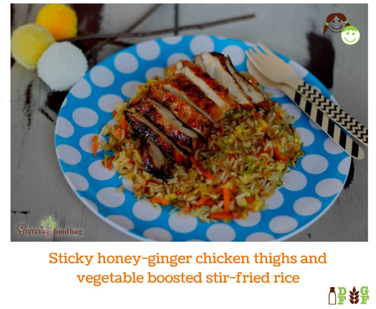 Sticky honey-ginger chicken thighs and vegetable boosted stir-fried rice