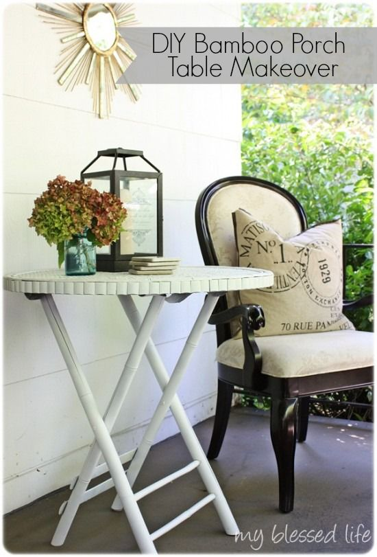Bamboo Porch Table Makeover - www.myblessedlife...