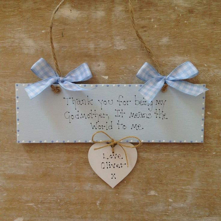 Personalised Godmother Godparent Godfather Christening Naming Day Gift Sign.Can Also be made in Pink...£8.99