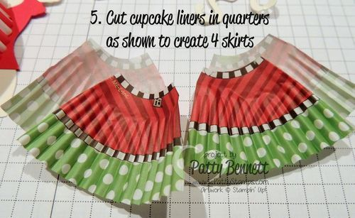 www.PattyStamps.com - Step by Step HOW TO: use cupcake liners for Stampin Up Dress Up framelit dresses!! Too cute!