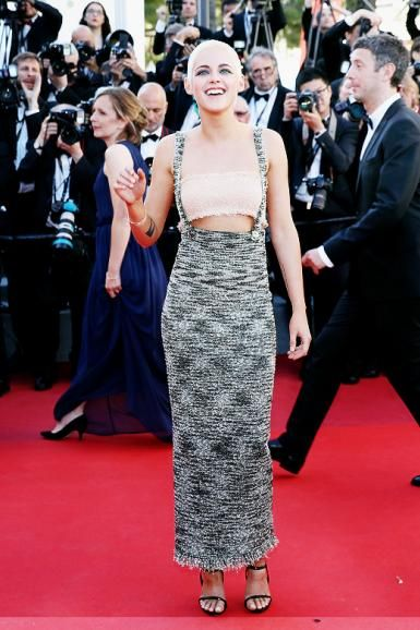 Kristen Stewart wearing Le Silla Award Sandals in Fiesta and Chanel Resort 2018