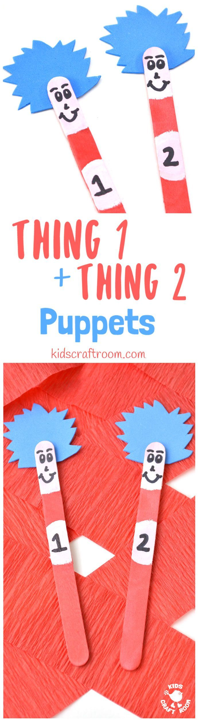 "THING 1 and THING 2 PUPPETS are super simple to make and great fun for all Dr Seuss ""The Cat In The Hat"" fans, big and small! Use them to bring the story to life as you read with your kids or to inspire their imaginative play. These popsicle stick puppets are super fun!"