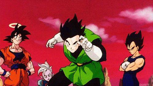 Vegeta, Goku, and Supreme Kai Shin watch as Gohan takes on Dabura