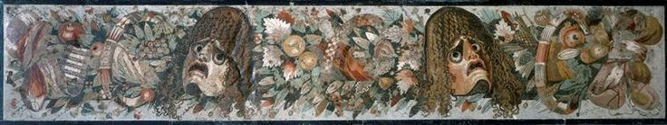 Seuil du vestibule: frise de avec masques de théâtres   Casa del Fauno, Pompei