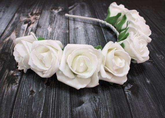 White and Green Flower Crown Headband, Flower Crown Headband, White Rose Headband, Hippie, boho, bridal, floral, hippie, bohemian