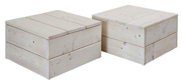 Twee vierkante houten #tafels van steigerhout volgens de gratis bouwtekening.
