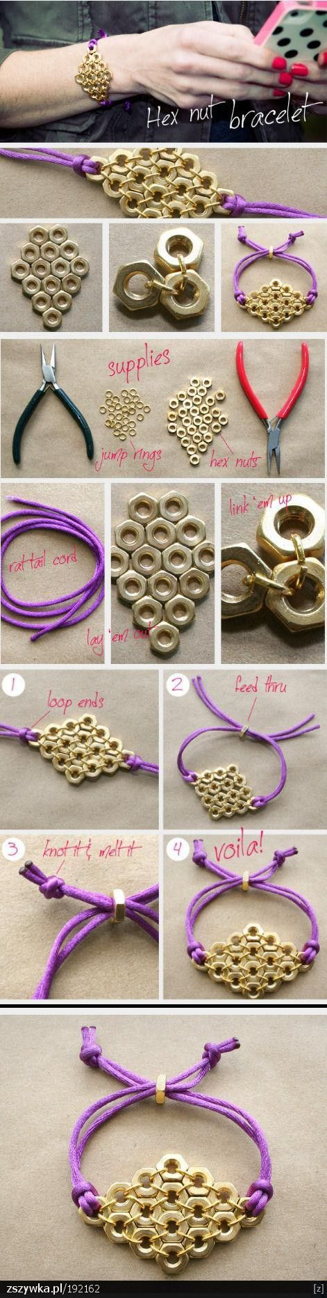 Hex nut Bracelet. Super cute!