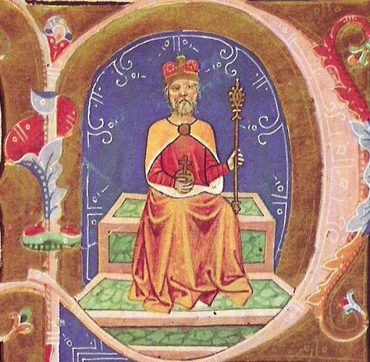 St. Stephen, the first Christian king of Hungary, from the Illuminated Chronicle