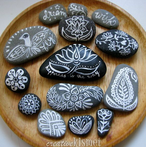 Great rocks!  Love this zen activity.  What a lovely little gift too.  blog.creativekismet.com/2012/07/02/pretty-hand-painted-rocks/