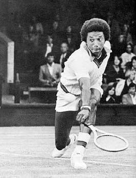 Arthur Ashe (7/10/1943 - 2/06/1993) is the only African American man to win championships at Wimbledon, the US Open, the Australian Open, or to captain the US Davis Cup team. He was an outspoken activist against Apartheid and for AIDS awareness, having contracted the disease after heart surgery in 1992. He also wrote a 3-volume series entitled Road to Glory: The History of the African American Athlete.
