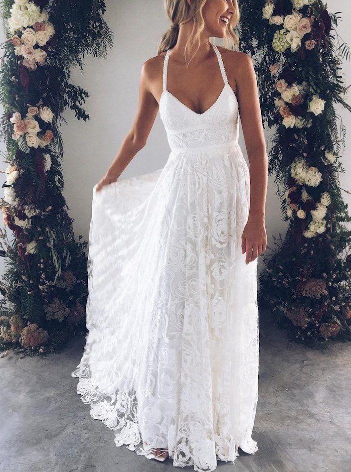 Sweetheart Neckline Lace Flowy Wedding Dress Blonde Wavy Hair Ponytail In 2020 Lace Beach Wedding Dress Simple Wedding Dress Beach Destination Wedding Dress