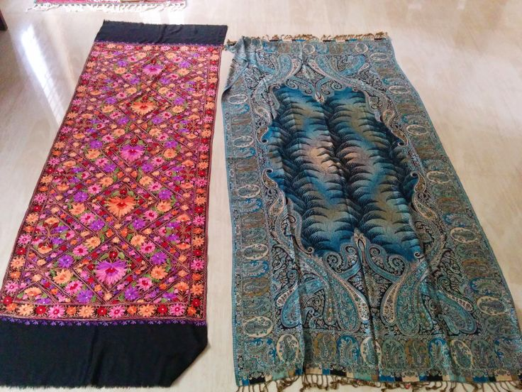 Embroidered shawl and wool shawl