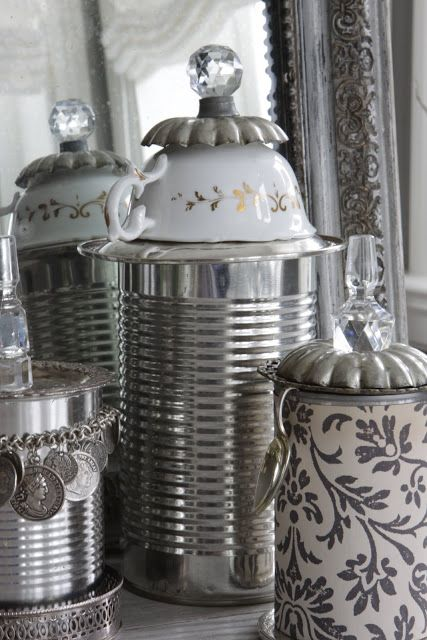 Tin cans, metal cannisters, repurposed teacup lids, salvaged crystal stoppers; Upcycle, Recycle, Salvage, diy, thrift, flea, repurpose! For vintage ideas and goods shop at Estate ReSale & ReDesign, Bonita Springs, FL