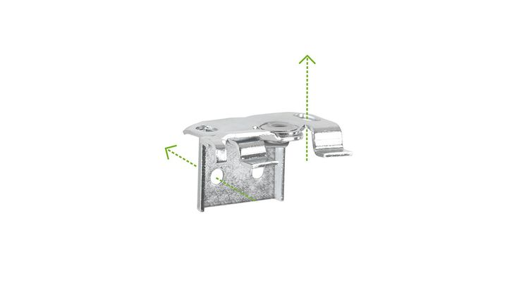 Les fixations sont conçues en métal. Celles-ci s'adaptent au plafond ou au mur (sans déport). L'installation s'effectue par simple vissage.