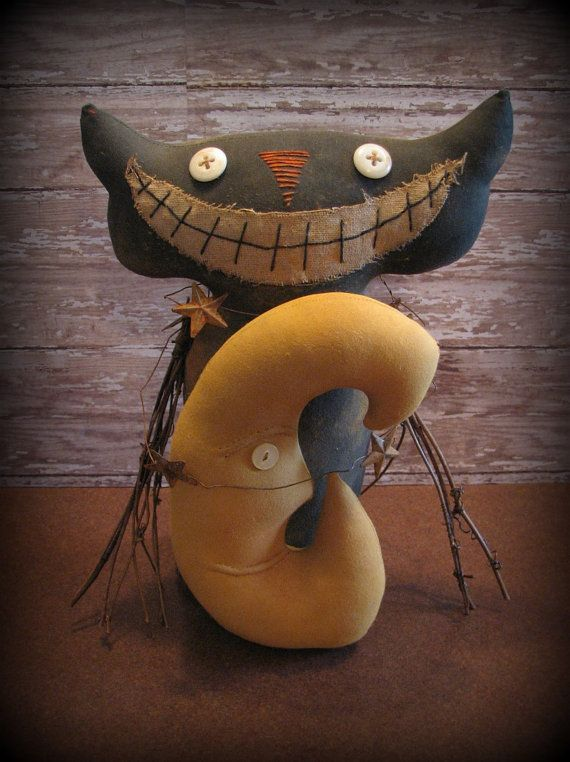 prim halloween decor | Extreme Primitive Harvest Moon Cat Halloween Decor by ThatSallie