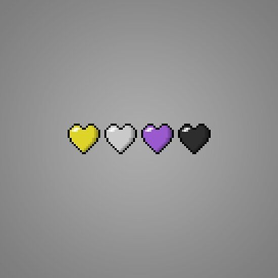 'Non-Binary Pixel Hearts' by LiveLoudGraphic Lgbt Flag, You Are Awesome, Cute Wallpapers, Aesthetic Wallpapers, Gay, Aesthetics, Random, Hippie Drawing, Cell Wall