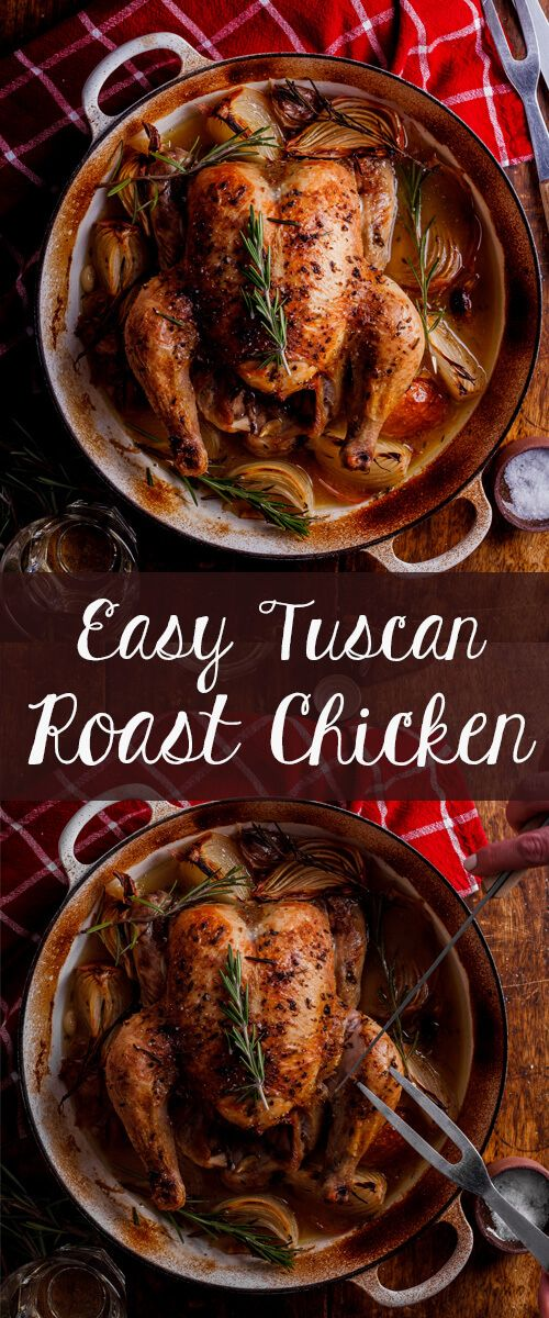 Succulent roast chicken cooked with Tuscan herbs and white wine. Click for…