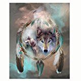 #6: 5D Diamond Painting callm Hot Sale DIY Cross Stitch Kit Peacock Diamond Embroidery Painting Drill Arts Craft Supply for Home Wall Decor (Dream Catcher Wolf)