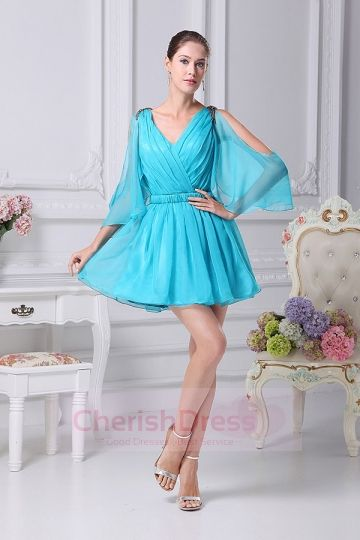 Mini/Short V Neck A-Line Dress with Ruffles