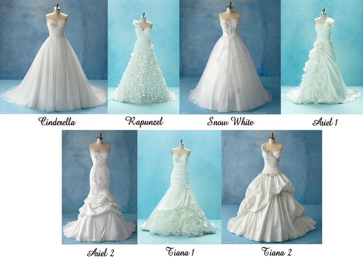 Disney princess inspired wedding dresses by Alfred Angelo. These are some of my favorites!