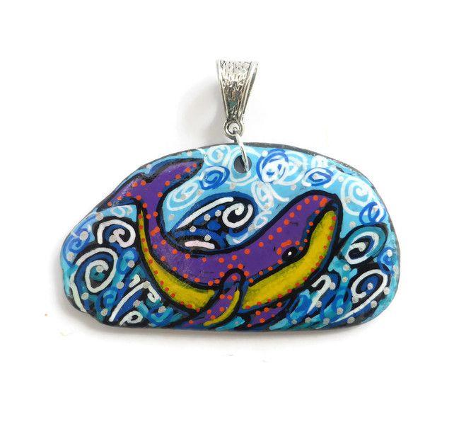 Whale Necklace, Whale Art, Pebble Art, Pebble Painting, Whale Illustration £20.00