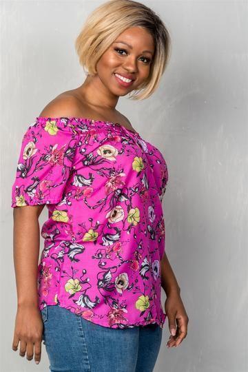 b99f4ca07edd2 Ladies fashion plus size boho fuchsia floral print elastic neckline off the  shoulder top - Inspired Zen