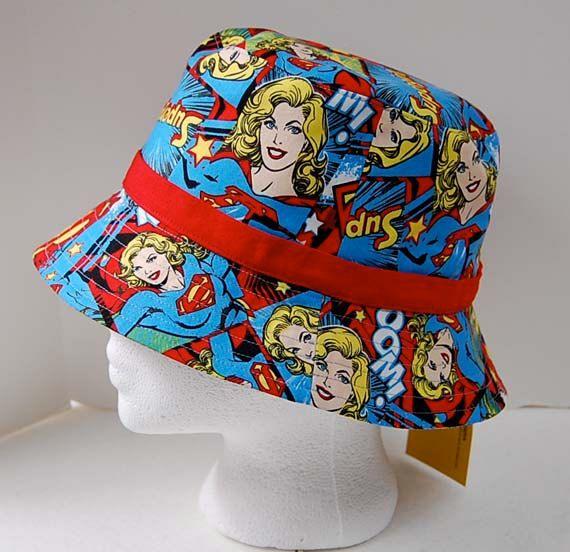 Handmade Supergirl print girl's bucket hat by DaleRaeDesigns