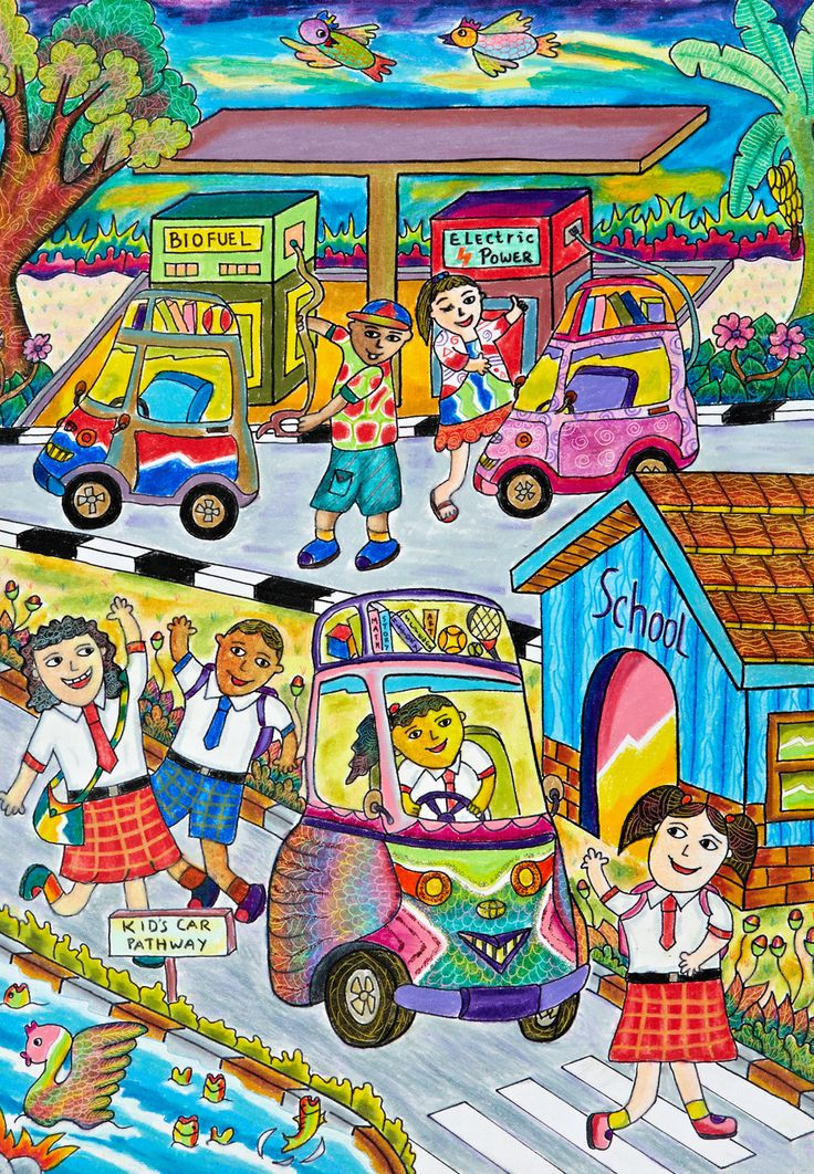 'My Liliput Kid's Car' by Alyarosa Taqwaariva, Aged 8, Indonesia: 3rd Contest, Bronze #KidsArt #ToyotaDreamCar