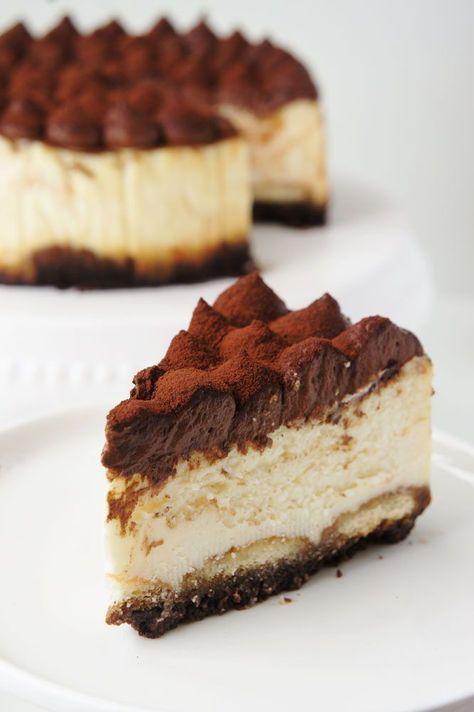 Tiramisu Cheesecake mit Mascarpone-Quark Creme #Cheesecake #Tiramisu #Tiramisucheesecake